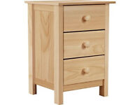 New Scandinavia 3 Drawer Bedside Chest - Pine