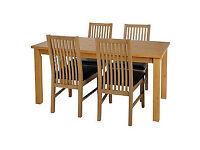 Ashdon Oak Stain 120cm Table & 4 Paris Black Chairs