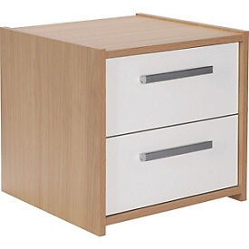 New Sywell 2 Drawer Bedside Chest-Oak Effect and White.