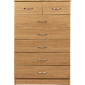 Cheval 5+2 Drawer Chest - Oak Effect