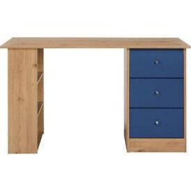 New Malibu 3 Drawer Desk - Blue on Pine