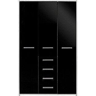 New Sywell 3 Door 4 Drawer Wardrobe - White and Black Gloss
