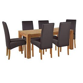 Heart of House Aspley Table & 6 Black Skirted Chairs.