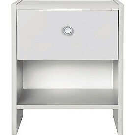 Fully assembled Seville 1 Drawer Bedside Chest - White