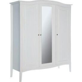 Heart of House Avignon 3 Door Mirrored Wardrobe - White
