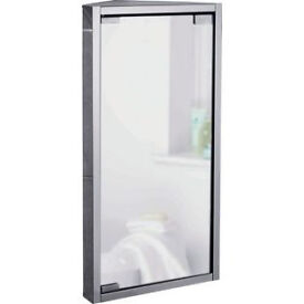 Mirrored Bathroom Corner Cabinet - Stainless Steel