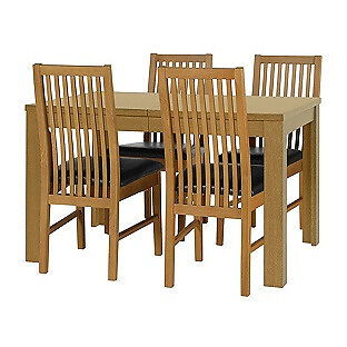 HOME Penley Extendable Table and 4 Paris Chairs - Oak Stain - Black