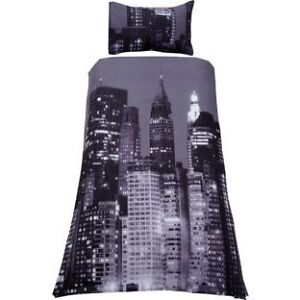 NEW YORK CITY SKYLINE DUVET BED COVER SHEET SET SKYSCRAPER