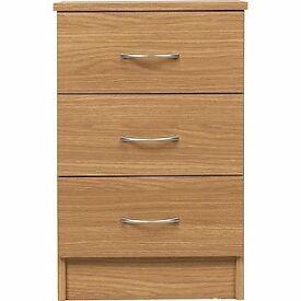 Cheval 3 Drawer Bedside Chest - Oak Effect