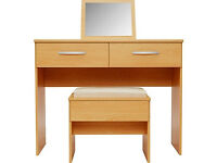 New Hallingford Dressing Table, Stool and Mirror - Beech