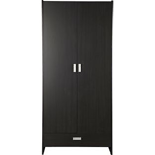 New Capella 2 Door 1 Drawer Wide Wardrobe - Black Effect