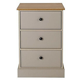 Kensington 3 Drawer Bedside Chest - Putty & Oak Effect