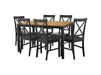 Extendable Dining Table & 6 Black Cross Back Chairs.