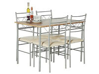 Oslo Oak Effect Dining Table & 4 Metal Chairs