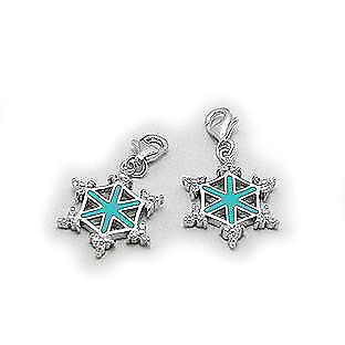 Sterling Silver Snowflake Charm with Cubic Zirconias and -