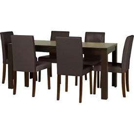 Penley Walnut Stain Extendable Table and 6 Chocolate Chairs