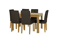 Penley Oak Stain Extendable Table and 6 Chocolate Chairs