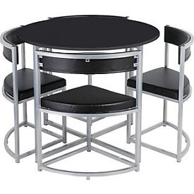 Hygena Milan Space Saver Table and 4 Chairs - Black (NEW)