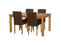 HOME Ashdon Oak Stain 120cm Table & 4 Chocolate Chairs