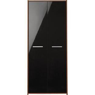 New Sywell 2 Door Wardrobe - Walnut Effect and Black Gloss