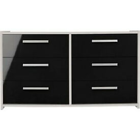 New Sywell 3+3 Drawer Chest - White and Black Gloss