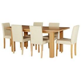 Shenley Oak Veneer Extendable Table & 6 Cream Chairs