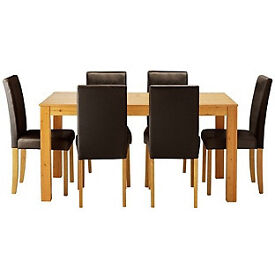 Newton Oak Stain Dining Table & 6 Chocolate Chairs