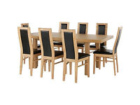 Ella Extendable Dining Table - 8 Black Warwick Chairs.