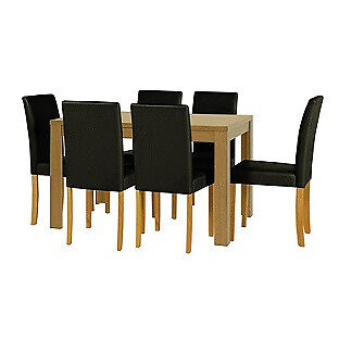 HOME Penley Ext Dining Table and 6 Chairs - Oak Stain -Black