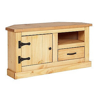 San Diego 1 Drawer Corner TV Unit - Solid Pine.