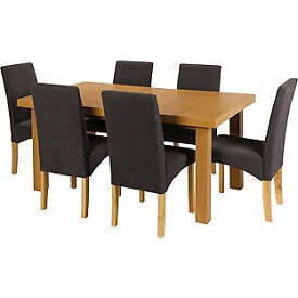 Cosgrove Ext Oak Stain Dining Table and 6 Charcoal Chairs.