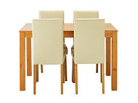 Newton Oak Stain Dining Table & 4 Cream Chairs