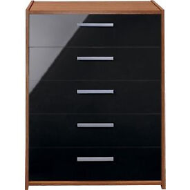 New Sywell 5 Drawer Chest - Walnut Effect and Black