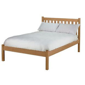 Silbury Double Bed Frame - Solid Pine With an Oak Stain