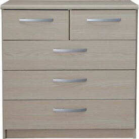 New Hallingford 3+2 Drawer Chest - Light Oak Effect