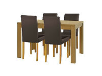 Penley Oak Stain Extendable Table and 4 Chocolate Chairs