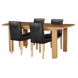 Shenley Oak Veneer Extendable Table & 4 Black Chairs