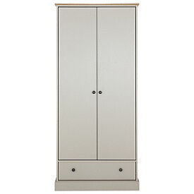 Kensington 2 Door 1 Drawer Wardrobe - Putty & Oak Effect