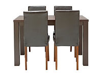 HOME Pemberton Dining Table and 4 Chairs-Walnut Effect Choc