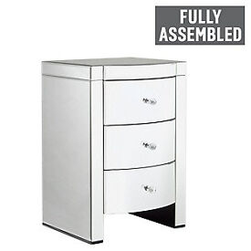 Heart of House Canzano 3 Drawer Mirrored Bedside Chest