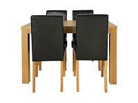 Pemberton Oak Effect Dining Table & 4 Black Chairs.