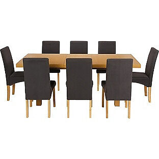 Cosgrove Ext Oak Stain Dining Table & 8 Black Chairs.