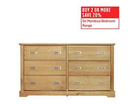 Collection Mendoza Pine 3+3 Drawer Chest - Oak Stain