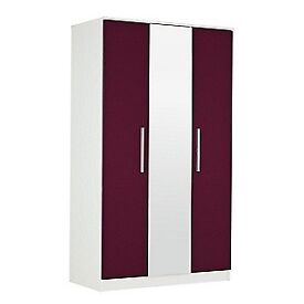 Sparkle 3 Door Mirrored Wardrobe - Plum.