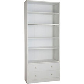 Maine Extra Deep Bookcase with Drawers - White