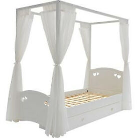 Mia Single 4 Poster Bed Frame - White