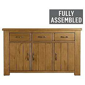 Fully assembled Arizona 3 Door 3 Drawer Sideboard - Solid Pine.