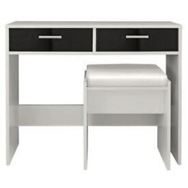 New Sywell Dressing Table and Stool - White and Black Gloss