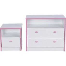 Newport 2 Drawer Chest and Bedside Chest Package - Pink