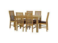 Penley Oak Stain Extendable Table & 6 Paris Chocolate Chairs